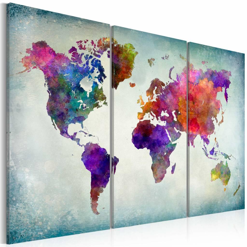 Schilderij - Wereldkaart - Wereld in Kleuren, 3luik , multikleur , wanddecoratie , premium print op