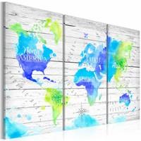 Schilderij - Wereldkaart - Kleurrijke Reis, 3luik , wanddecoratie , premium print op canvas