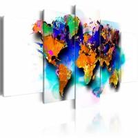 Schilderij - Kleuren van de Wereld , multi kleur , 5 luik