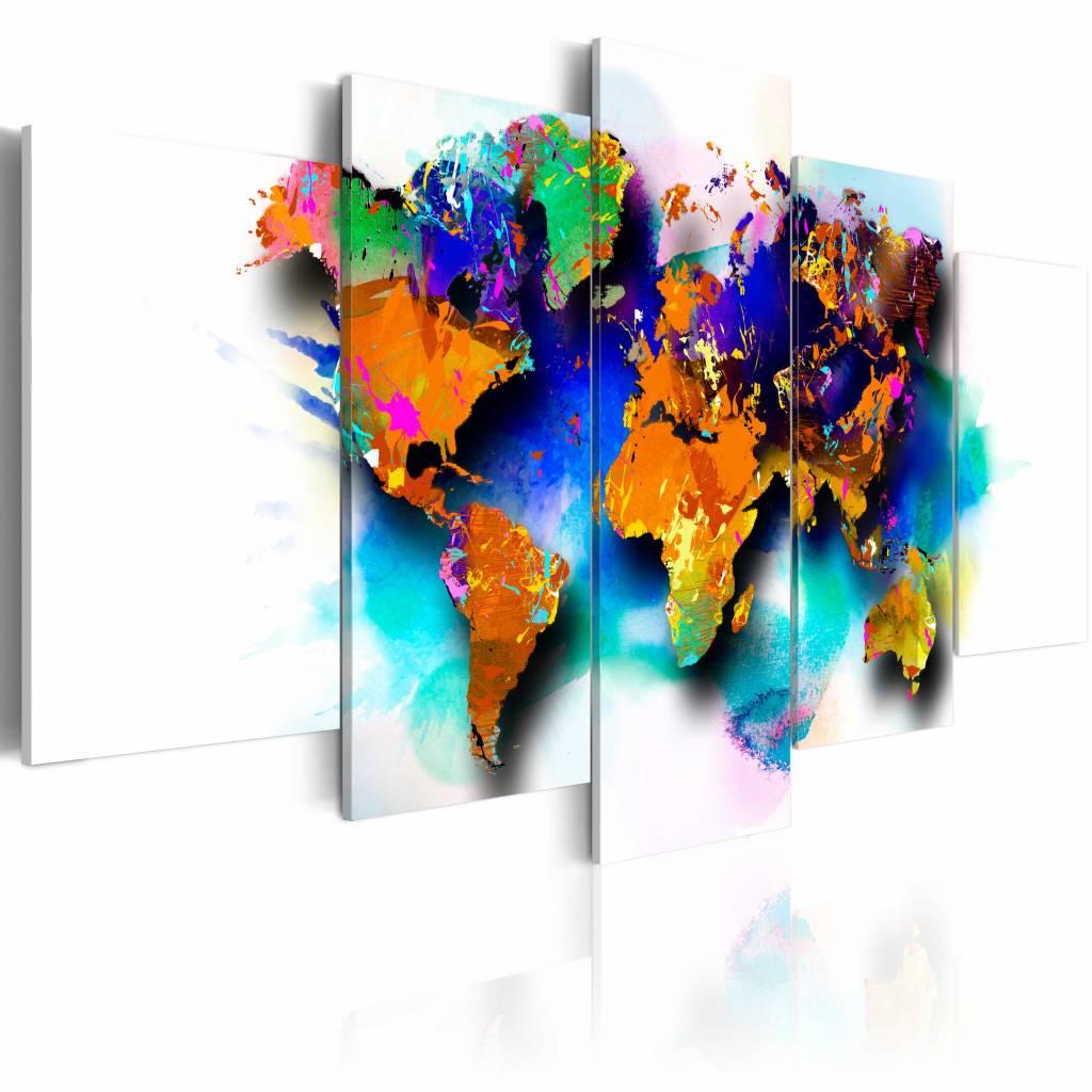 Schilderij - Kleuren van de Wereld , multi kleur , 5 luik , 2 maten