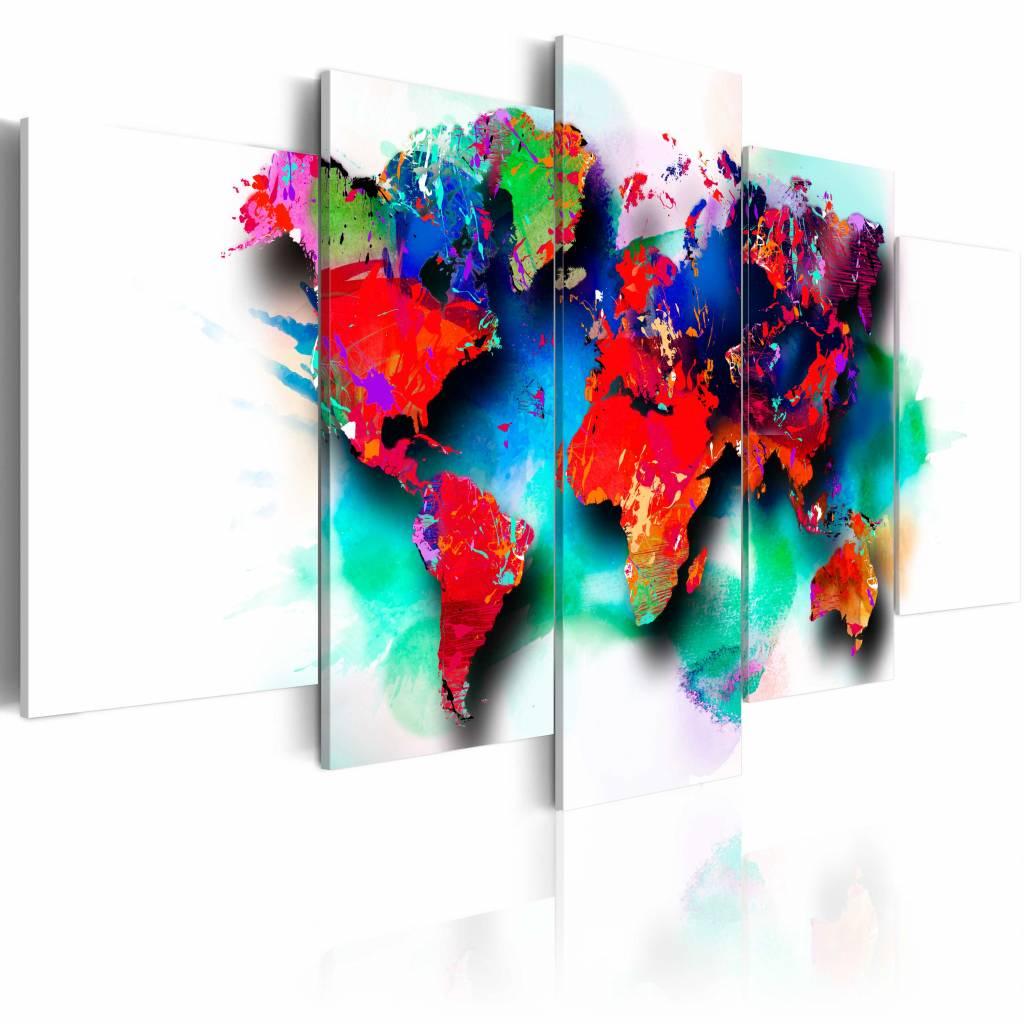 Schilderij - Veelkleurige wereld , multi kleur , 5 luik , 2 maten