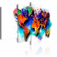 Schilderij - Wereldkaart - Pittoreske Wereld, 5luik , multikleur , wanddecoratie , premium print op canvas