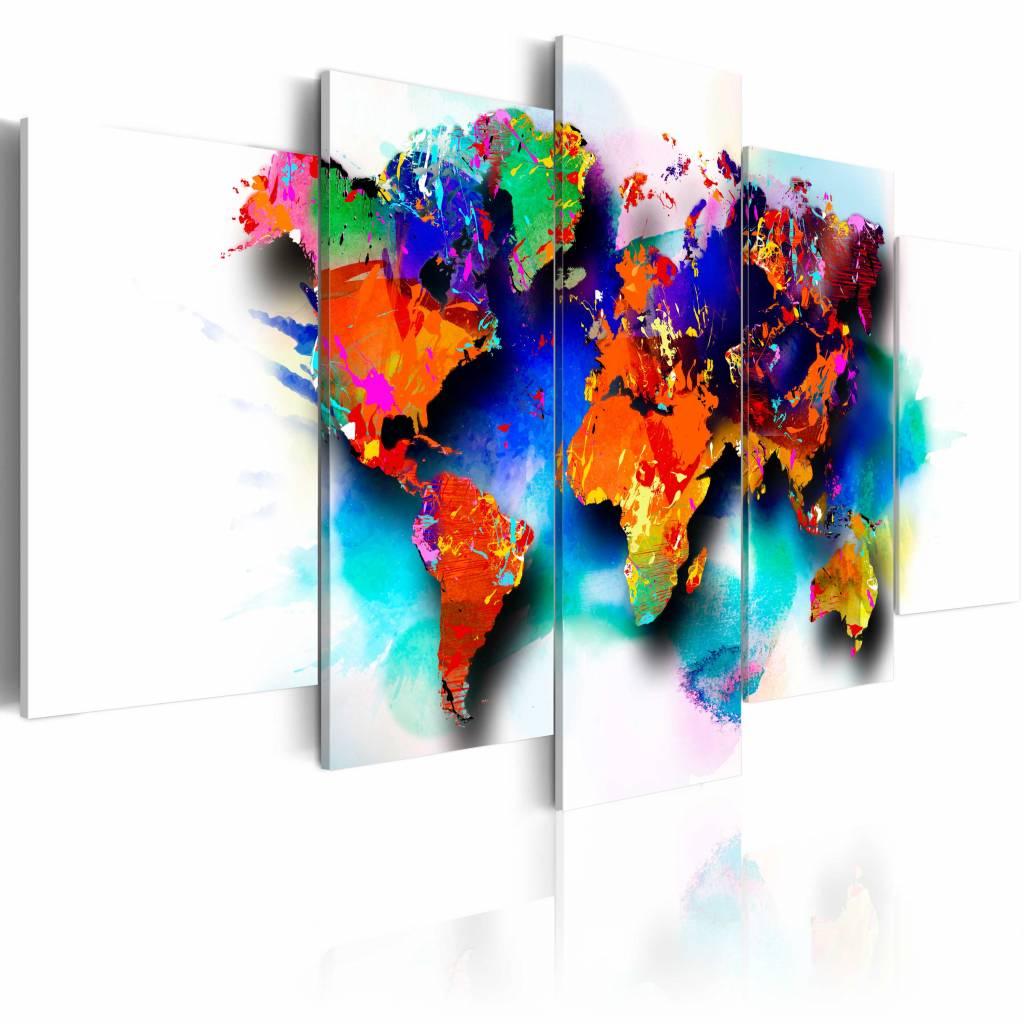 Schilderij - Wereldkaart - Pittoreske Wereld, 5luik , multikleur , wanddecoratie , premium print op