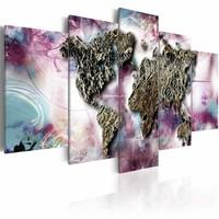 Schilderij - Veelkleurige wereld , steen look , pastel , 5 luik