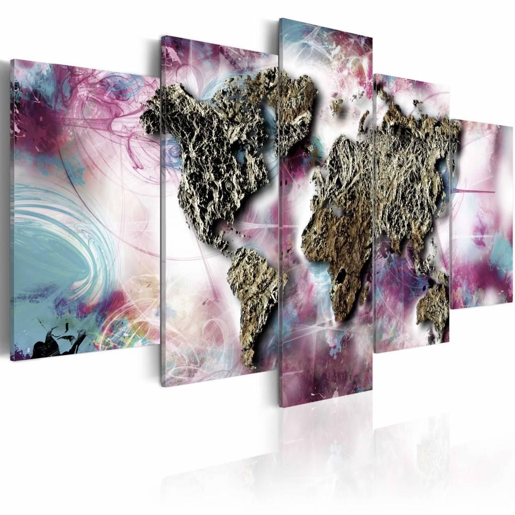 Schilderij - Veelkleurige wereld , steen look , pastel , 5 luik , 2 maten