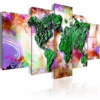 Schilderij - Opvallende Wereld , multi kleur , 5 luik , 2 maten