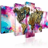 Schilderij - Wereldkaart - Regenboog Reizen, 5luik