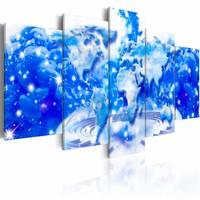 Schilderij - Wolken Wereld , blauw wit , 5 luik