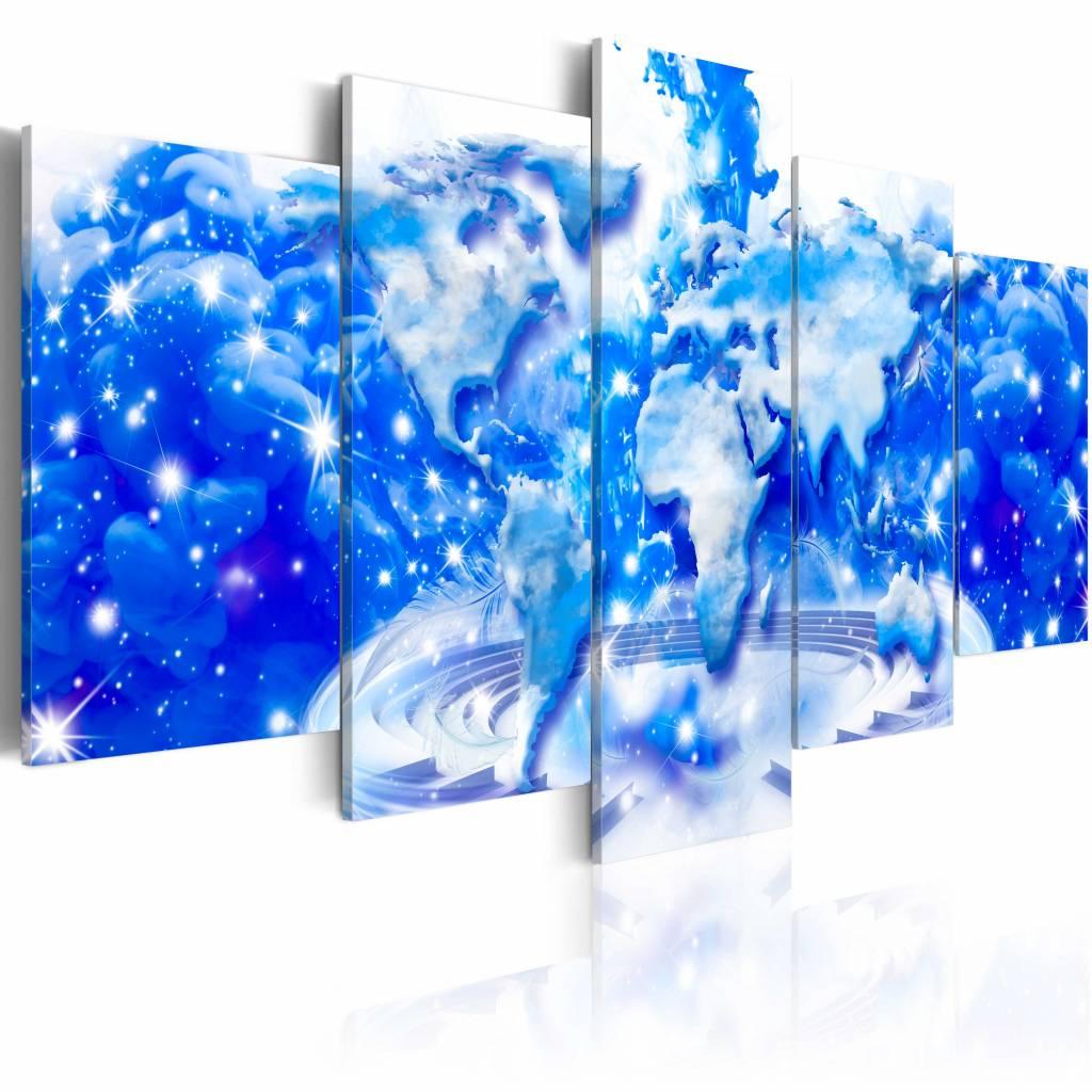 Schilderij - Wolken Wereld , blauw wit , 5 luik , 2 maten