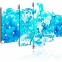 Schilderij - Wolken Atlas, wereldkaart, blauw, 5 luik, 2 maten