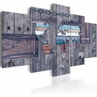 Schilderij - Wereldreis  , hout look , grijs , 5 luik