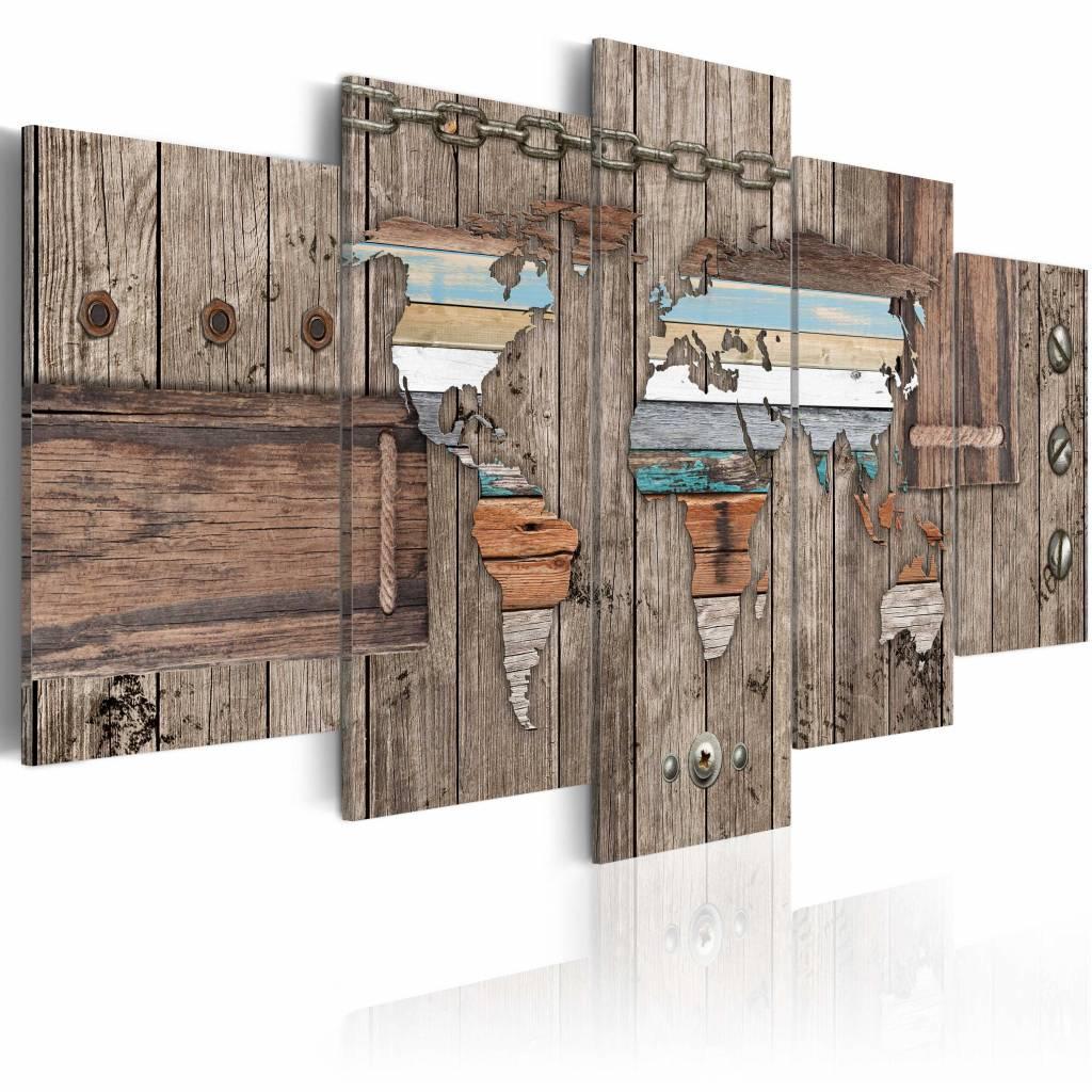 Schilderij - Wereldkaart - Zee Reizen, Hout look, 5luik , wanddecoratie , premium print op canvas