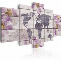 Schilderij - Romantische wereldkaart, lila grijs , 5 luik