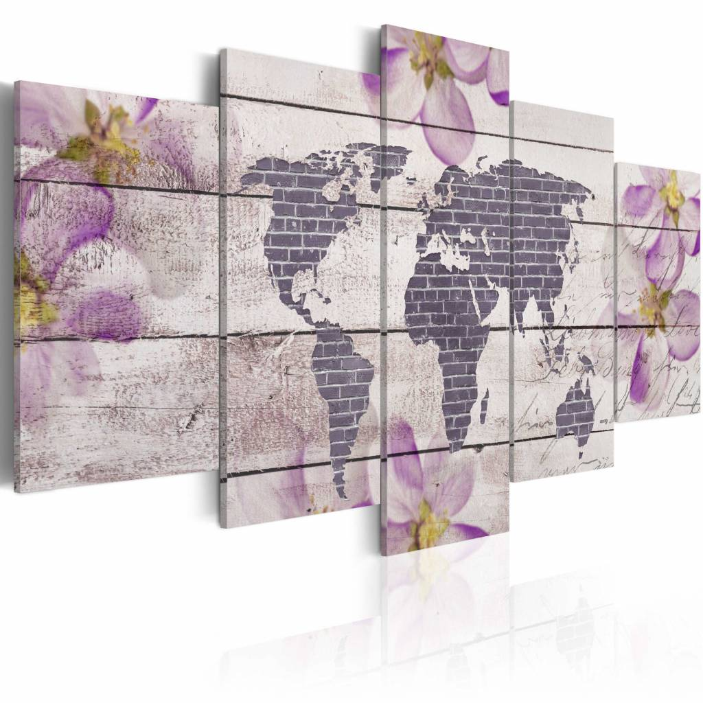 Schilderij - Romantische wereldkaart, lila grijs , 5 luik , 2 maten
