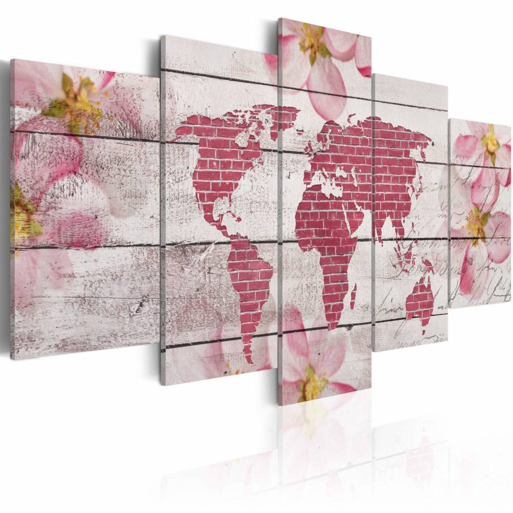 Schilderij - Zachtaardige Wereldkaart , roze wit , 5 luik , 2 maten
