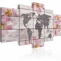 Schilderij - Wereldkaart - Wereld in Steen, Grijs/Roze, 5luik