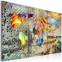 Schilderij - Wereldkaart - Wereld vol Kleur, Multi-gekleurd, 3luik , wanddecoratie , premium print op canvas