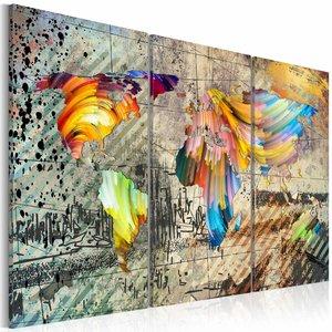 Schilderij - Wereld vol kleur, wereldkaart, diverse kleuren, 3luik, 2 maten