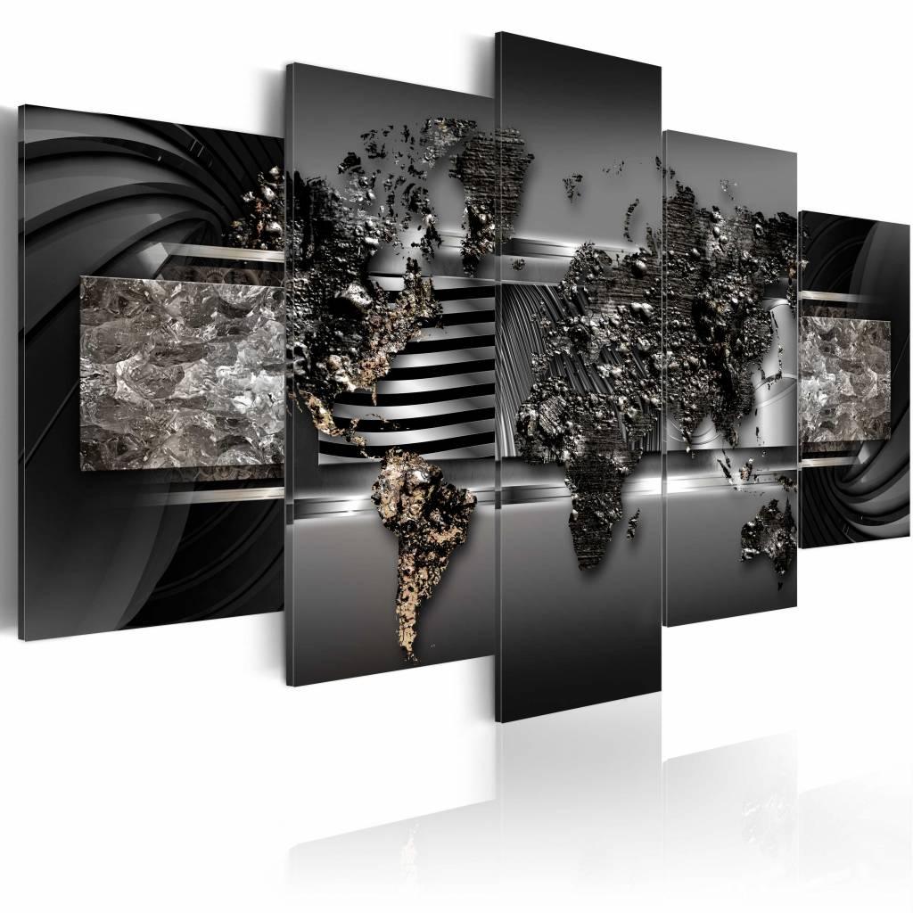 Schilderij - Zwarte Wereldkaart , metaal look , 5 luik , 2 maten