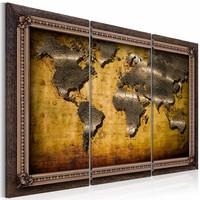 Schilderij - Wereldkaart - Ingelijst,  3luik , bruin , wanddecoratie , premium print op canvas