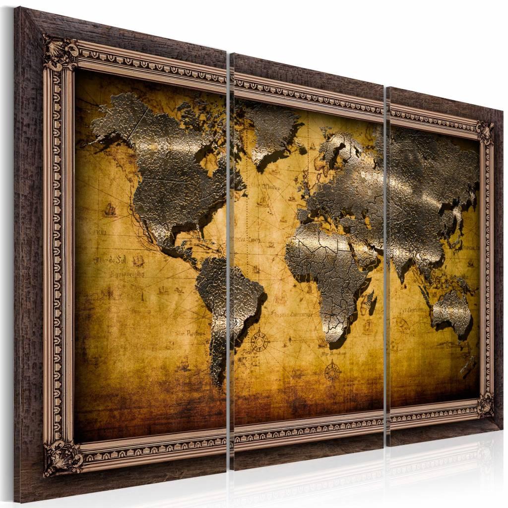 Schilderij - Wereldkaart - Ingelijst, 3luik