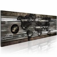 Schilderij - De wereld van metaal  , metaal look