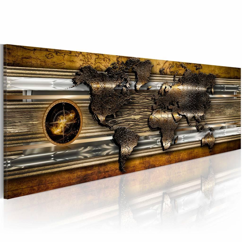 Schilderij - Wereldkaart - Gouden Wereld , bruin , wanddecoratie , premium print op canvas