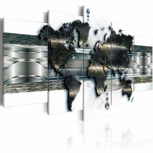 Schilderij - Metalen wereld kaart , Zilver metaal look , 5 luik