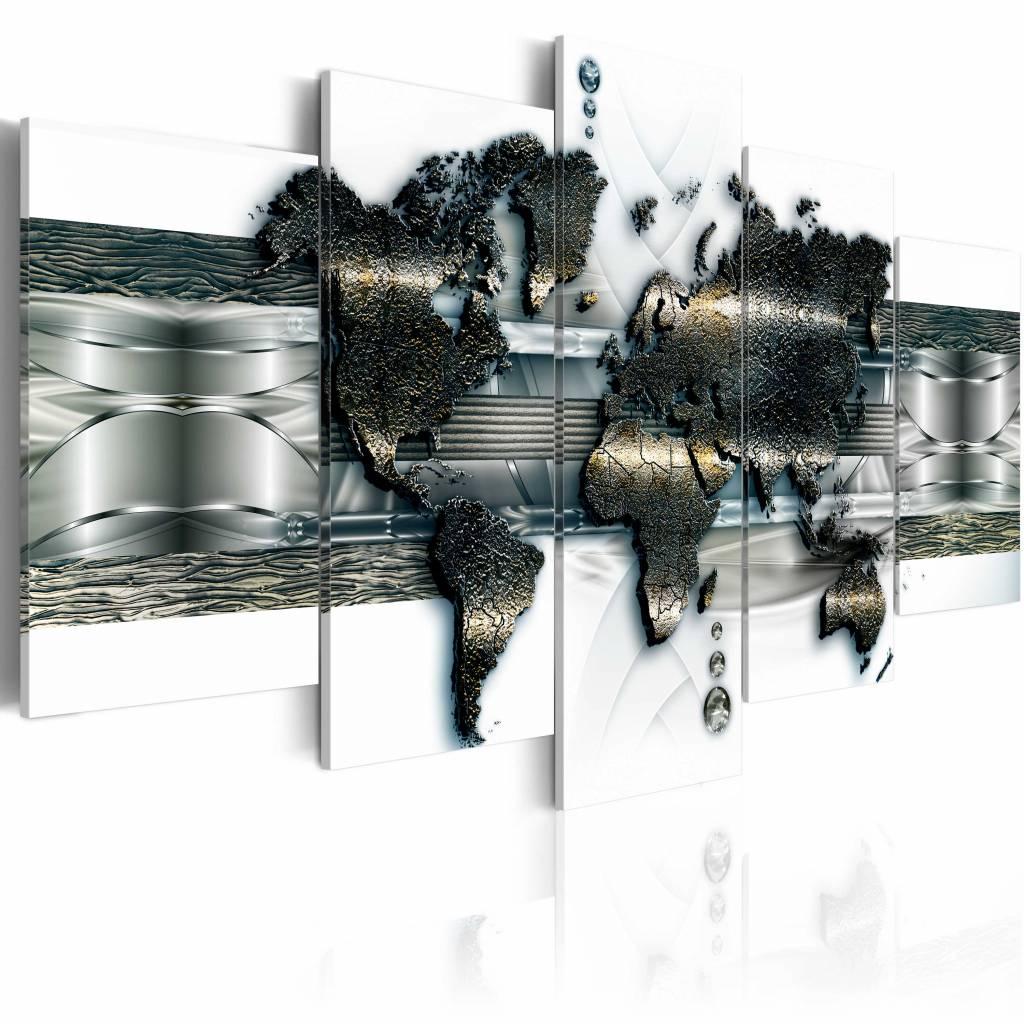 Schilderij - Metalen wereld kaart , Zilver metaal look , 5 luik , 2 maten