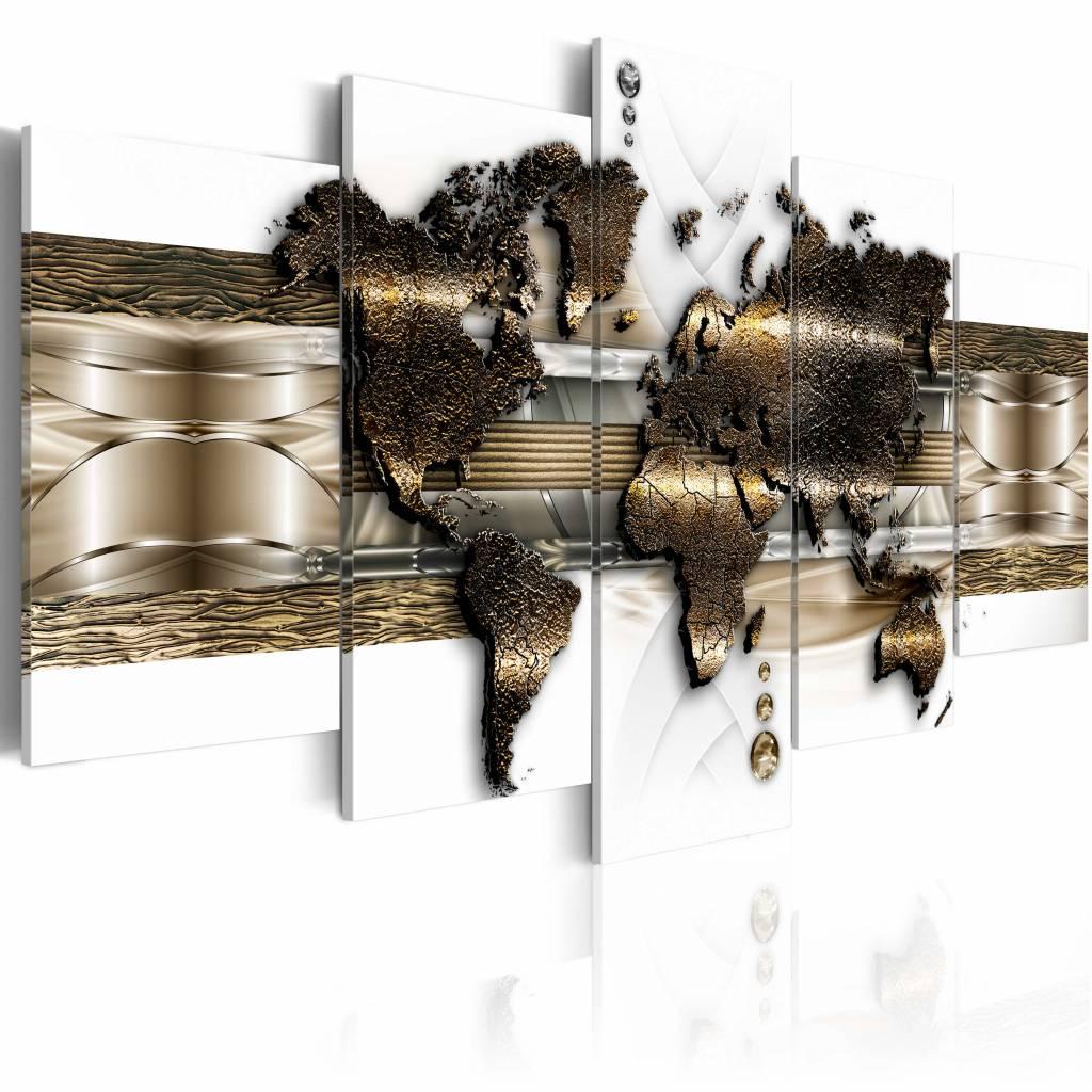 Schilderij - Metallic Wereld 100X50 , metallic look , 5 luik , 1 maat