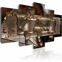 Schilderij - Kastanje Kaart , bruin , wereldkaart , 5 luik