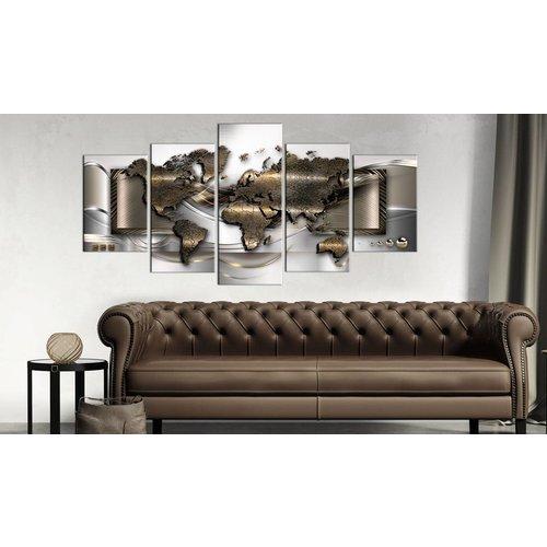 Schilderij - Wereld in stijl, Brons/Bruin, 2 Maten, 5luik