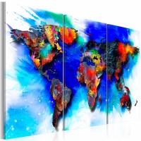 Schilderij - Wereldkaart - Regenboog Kaart, Multi-gekleurd, 3luik
