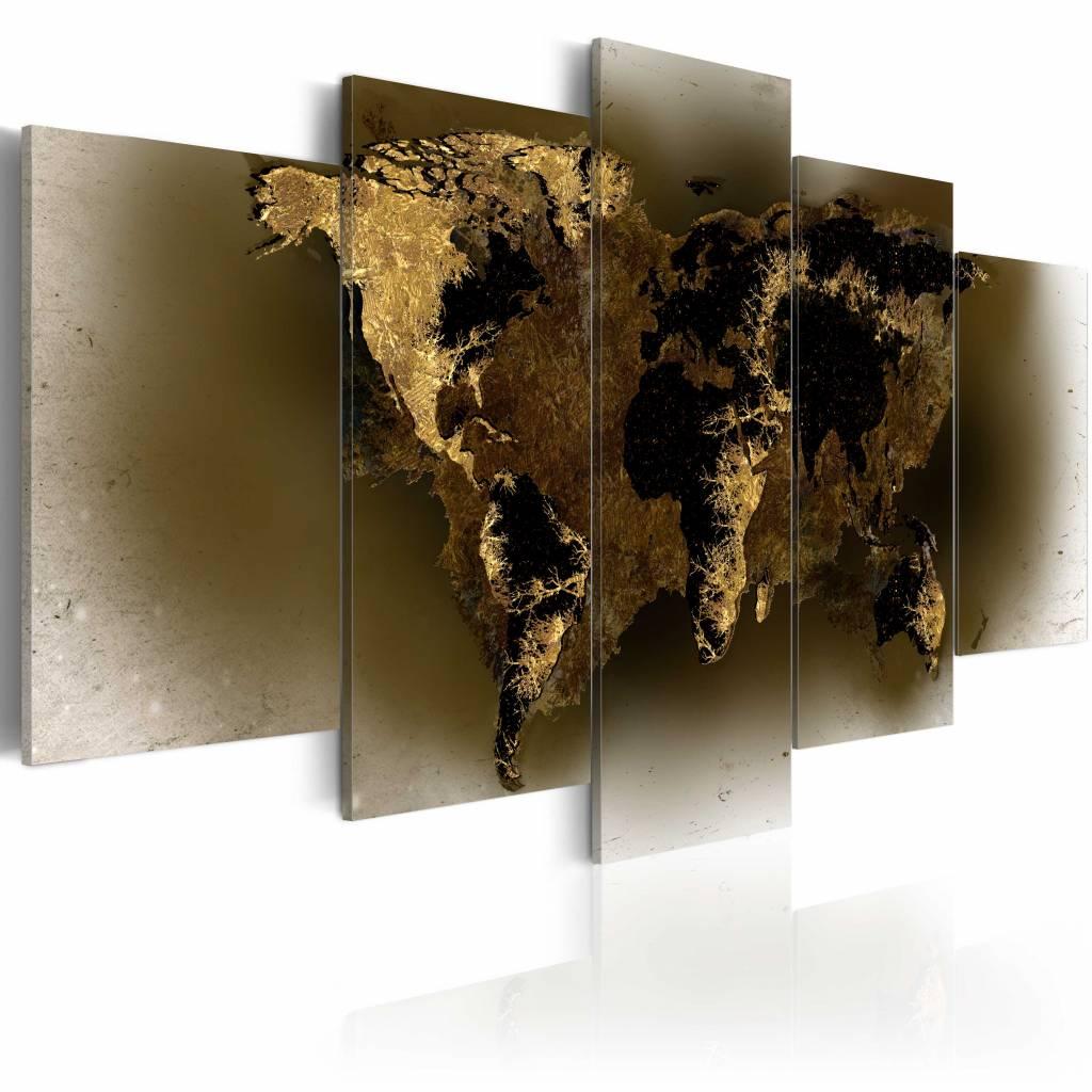 Schilderij - Continenten in Messing , bruin , 5 luik , 2 maten