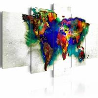 Schilderij - Groene Planeet , multikleur , 5luik
