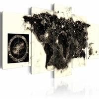 Schilderij - Zwarte Continenten  , zwart beige , 5 luik
