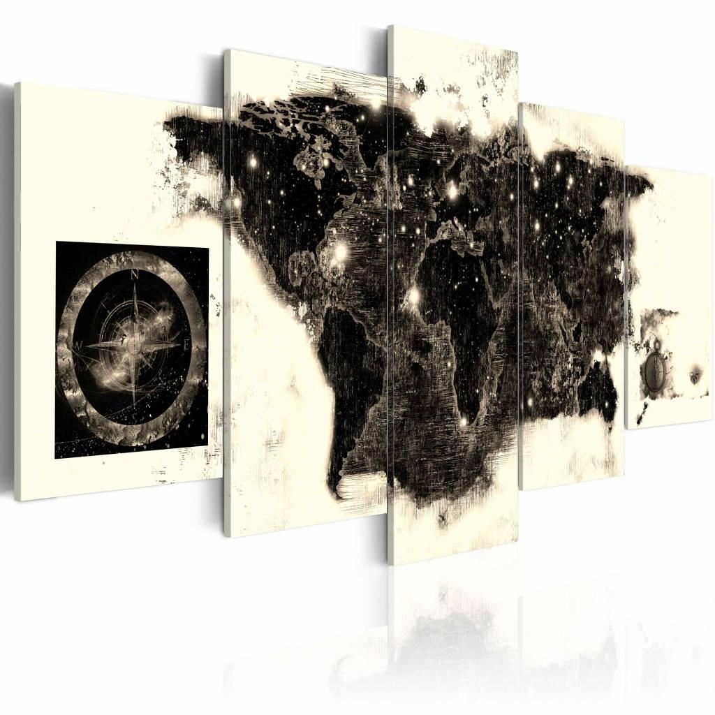 Schilderij - Zwarte Continenten , zwart beige , 5 luik , 2 maten
