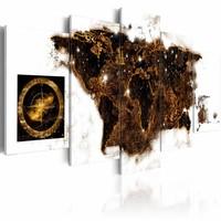 Schilderij - Wereldkaart - Wereld bij Nacht, 5luik , bruin wit , wanddecoratie , premium print op canvas