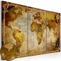 Schilderij - Wereldkaart - Wereld in Touwen, 3luik , beige bruin , wanddecoratie , premium print op canvas
