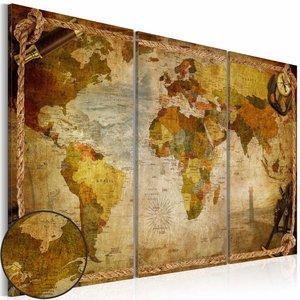 Schilderij - Wereldkaart in touwen,  Bruin, 2 Maten, 3luik