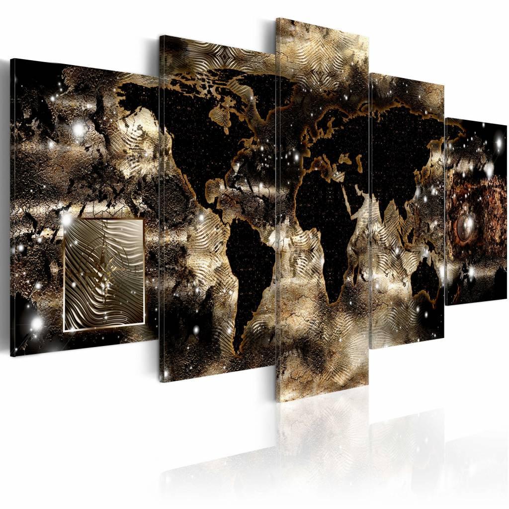 Schilderij - Continenten en Sterren , nacht , 5 luik , 2 maten