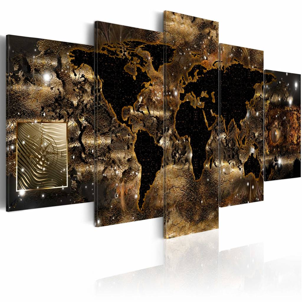 Schilderij - Wereld van Brons , 5 luik , 2 maten