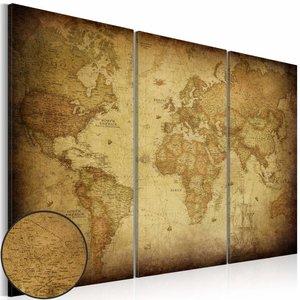 Schilderij - Wereldkaart - Oude Wereld,  3luik , beige bruin , wanddecoratie , premium print op canvas