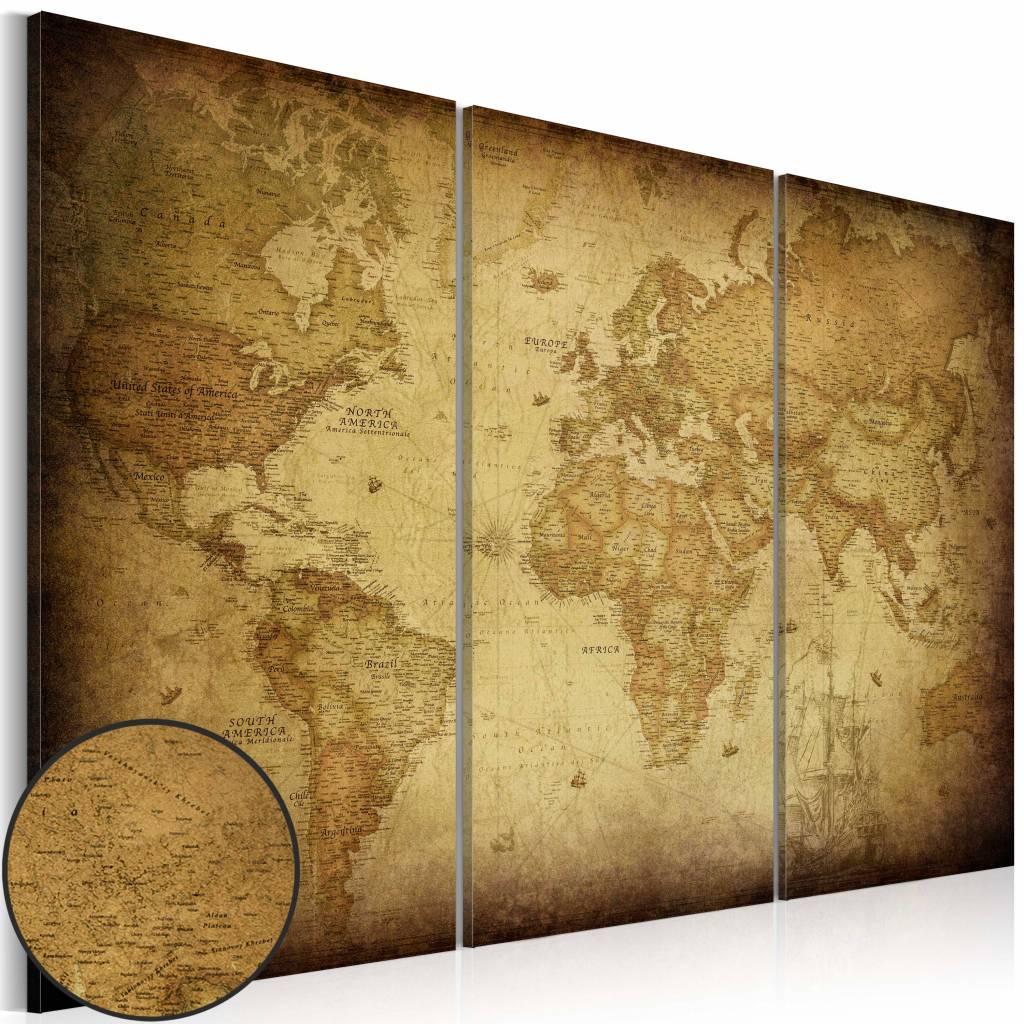 Schilderij - Wereldkaart - Oude Wereld, 3luik , beige bruin , wanddecoratie , premium print op canva