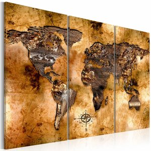 Schilderij - Wereldkaart - Opaliserende Wereld, Bruin, 3luik