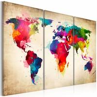 Schilderij - Wereldkaart - Regenboog Continenten, Multi-gekleurd, 3luik