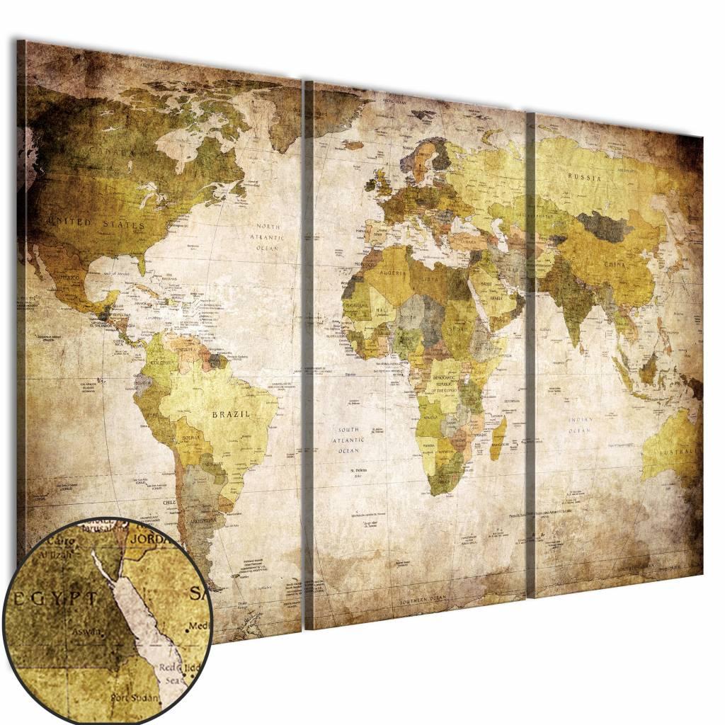 Schilderij - Wereldkaart - Oude Continenten, 3luik , wanddecoratie , premium print op canvas