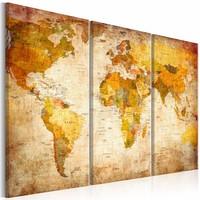Schilderij - Wereldkaart - Antieke Reis,  3luik , multikleur , wanddecoratie , premium print op canvas