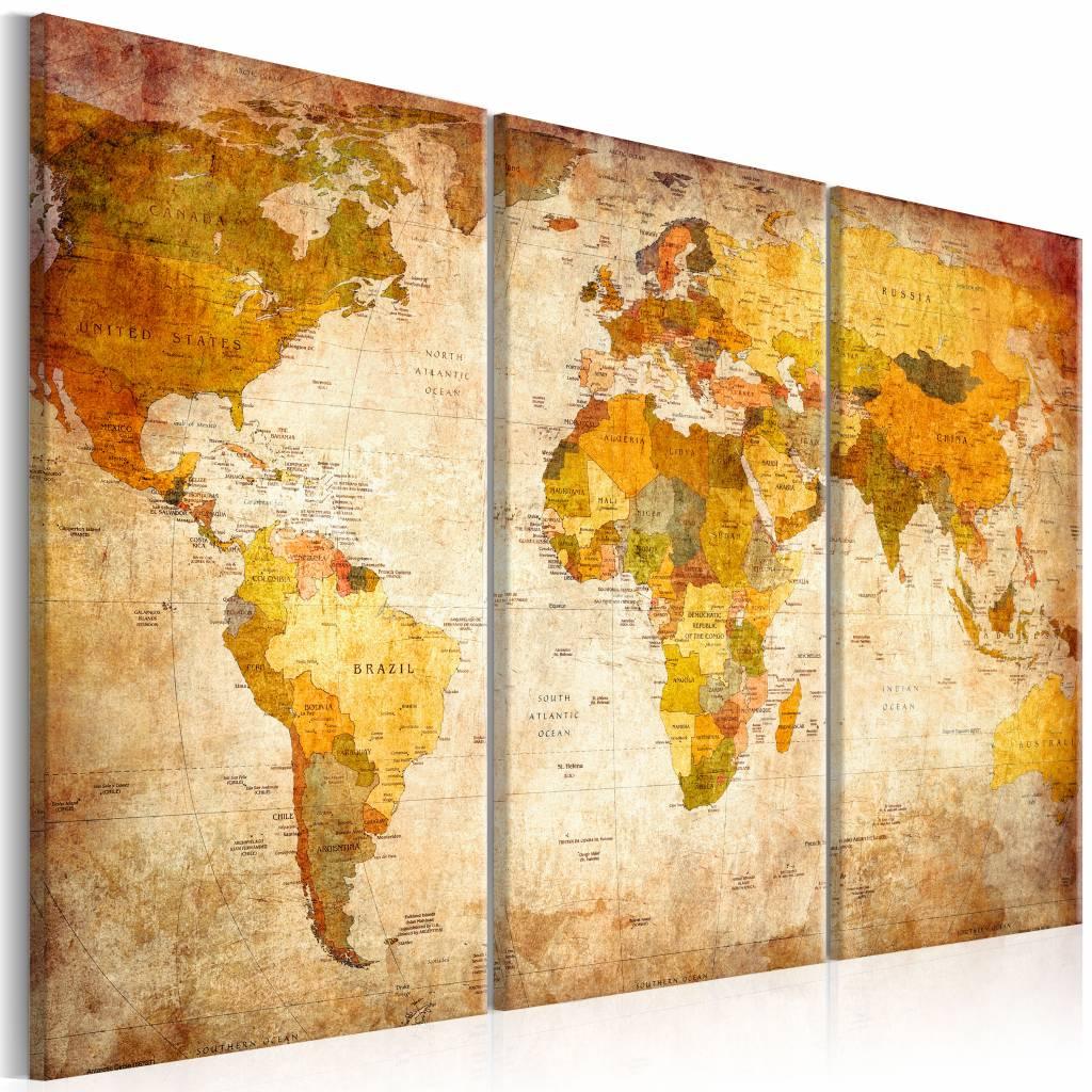 Schilderij - Wereldkaart - Antieke Reis, 3luik , multikleur , wanddecoratie , premium print op canva