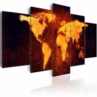 Schilderij - Wereldkaart - Hete lava,  5luik , oranje bruin , wanddecoratie , premium print op canvas